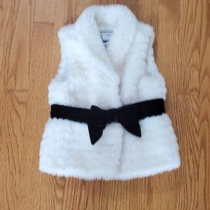 Janie and Jack faux fur velvet bow vest